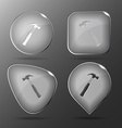 Hammer Glass buttons vector image
