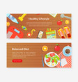 healthy lifestyle balanced diet landing page vector image