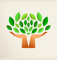 human hand tree for green ecology concept vector image vector image