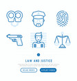 law and justice thin line icons set vector image