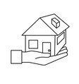 line hand with house architecture design icon vector image