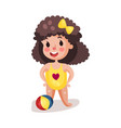 little boy wearing yellow swimsuit playing with a vector image vector image