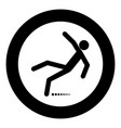 man slip fall icon black color in circle vector image