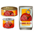 Meats in three different cans vector image vector image