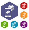 mobile mail sign icons set hexagon vector image vector image