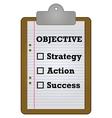 Objective checklist vector image vector image