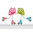 Owls on roller skates vector image vector image