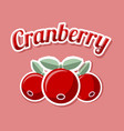 retro cranberry with title on pale red background vector image