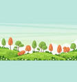 rual autumn landscape with tree and flowers vector image
