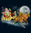 santa claus sleigh scene vector image vector image