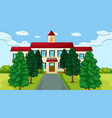 school building with trees and path vector image vector image