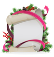 Scroll paper with ribbon and spruce branches vector image vector image