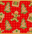 seamless pattern gingerbread man house and tree vector image