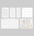set calendar daily plans vector image