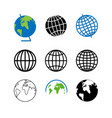 set icons for globe planet earth vector image