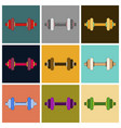 set of icons in flat design dumbbell vector image vector image