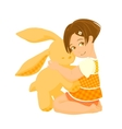 Small girl with a big bunny toy vector image