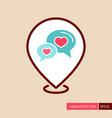 speech bubbles heart pin map icon vector image