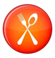 Spoon and fork icon flat style vector image vector image