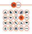 trip icons set with train ticket camcorder vector image