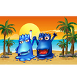 Two monsters at the beach with palm trees vector image vector image