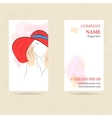 Vertical business card woman in red hat vector image vector image