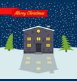 winter night with lonely house and stellar sky vector image vector image