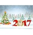 Christmas card with ball vector image