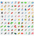 100 exchange icons set isometric 3d style vector image