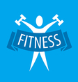Abstract logo for fitness clubs on a blue vector image vector image