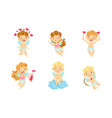 adorable happy baby angels with wings set lovely