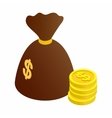 Bag of coins isometric 3d icon vector image vector image