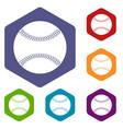 baseball icons set hexagon vector image vector image