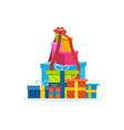 big mountain of bright colorful wrapped gift boxe vector image vector image
