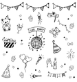 Birthday set doodle art collection vector image vector image