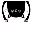 black funny cat head silhouette hanging upside vector image vector image