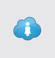Blue cloud female profile icon vector image