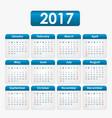 calendar 2017 blue vector image vector image