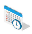 calendar and clock in isometric vector image vector image