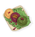 colored drawing of delicious pkhali lying on plate vector image vector image