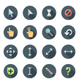 colored flat style various cursors icons set vector image