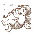 cupid with bow valetines day baby angel sketch vector image vector image