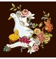 Cute background with ducks and flowers vector image vector image