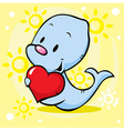 cute seal holding heart - cartoon vector image
