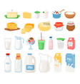 dairy products milk cheese yoghurt and ice cream vector image vector image