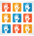 Different icons and design with helping hand vector image vector image