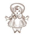 Doll retro toy sketch hand drawn isolated