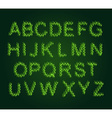 Eco alphabet Leaves Font Green letters from the vector image vector image