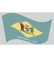 Flag of Delaware waving on gray background vector image vector image