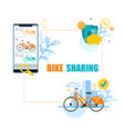 flat banner bike sharing system white background vector image